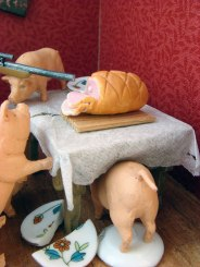 Detail of diorama: Factor Farm Pigs