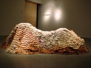 Installation view of the back of the tea bag mountain