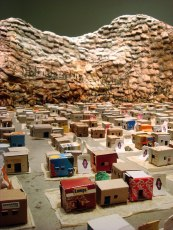 Detail of cardboard houses