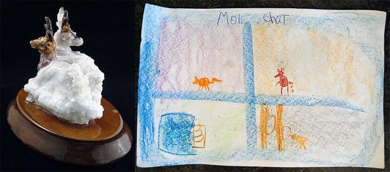 Please describe the object you took: 2 deer covered in snow Please describe the object you left behind: a drawing my Tenzin Mint called 'Mon Chat' How did you determine equivalency? Because Tensing put a lot of effort into his drawing What will you do with the object you have taken? It is for his mom for her birthday