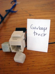 Garbage truck for trash art. By Leon James-Stanley